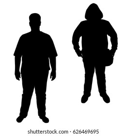 Vector silhouette of a teenager in different poses,man fat,  standing, black color, isolated on white background