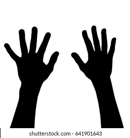 Vector silhouette of a teenager hands, black color, isolated on a white background