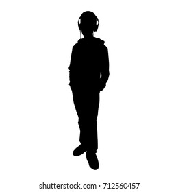 Vector silhouette teenager, standing, headphones,  black color, isolated on white background