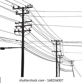 Vector Silhouette of telephone poles and utility poles.