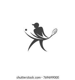 Vector silhouette of a tennis player. Logo template athlete.