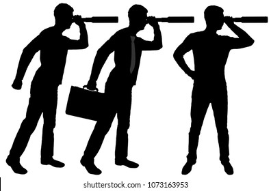 Vector silhouette of three men looking through binoculars. Business concept