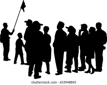Vector silhouette of Tour guide with group of tourist on white background.
