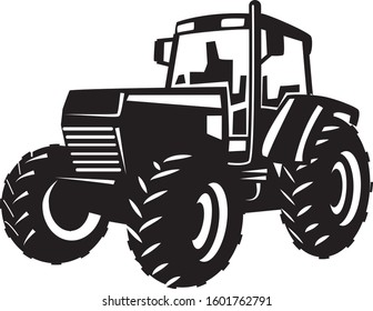 Vector Silhouette of a Tractor in black and white