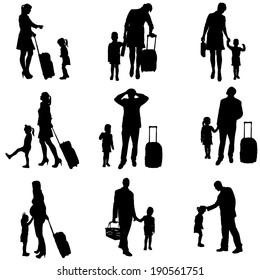 Vector silhouette of travel on a white background.