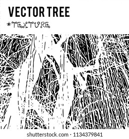 The vector silhouette of a tree for the background with natural foliage textures and eco grunge items for the creation of design banners, music cover, wallpapers,  flyers, websites with grunge industr