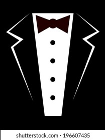 Vector silhouette of a tuxedo and bow tie