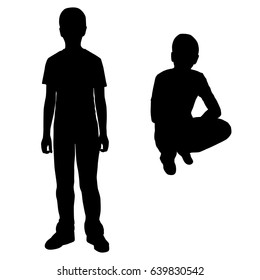 Vector silhouette of two boys, standing and sitting,  black color, isolated on white background