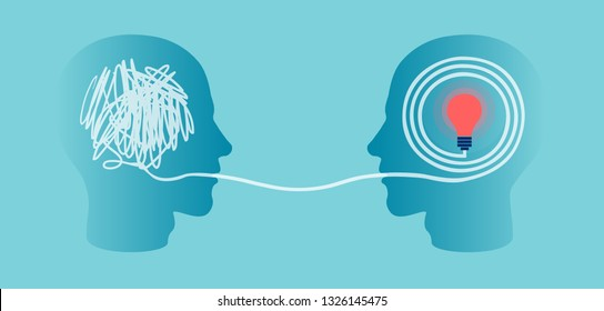 Vector silhouette of two profile heads one with scribbling and second with accurate right maze ending in a light bulb.