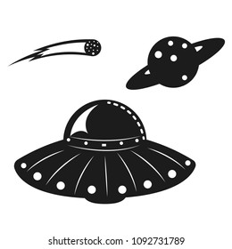 Vector silhouette of a UFO and planet and comet. Suitable for laser die and paper cutting