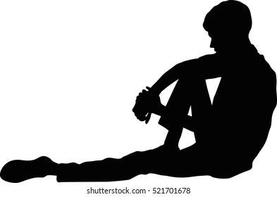 Vector silhouette of Very sad young man sitting alone on white background