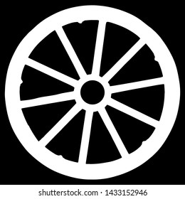 vector silhouette of wagon wheel isolated on black background