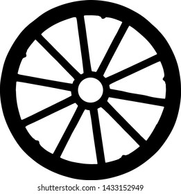 vector silhouette of wagon wheel isolated on white background