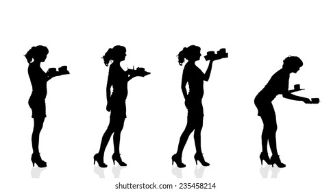 Vector silhouette waiter on a white background.