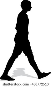 Vector silhouette of the walking man