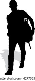 Vector silhouette of the walking man with a backpack