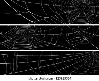 Vector silhouette of web of spider, isolated on black, for horizontal banner.