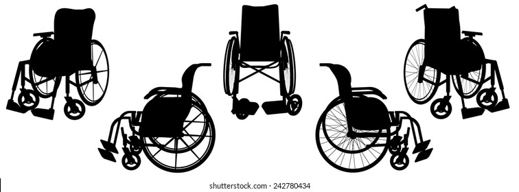 Vector silhouette of a wheelchair on a white background.