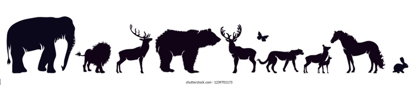 Vector silhouette of wild animal on white background.