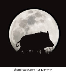 Vector silhouette of wild boar on moon background. Symbol of night and forest animals.