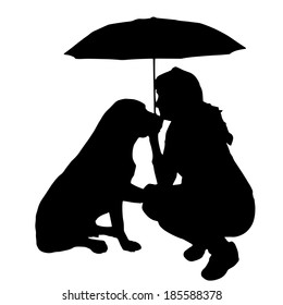 Vector silhouette of the woman with the dog.