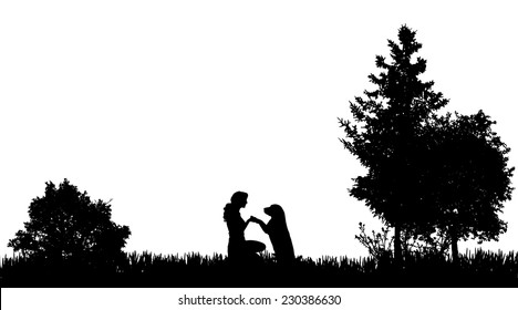 Vector silhouette of a woman with a dog in nature.