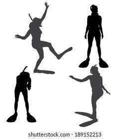 Vector silhouette of a woman with flippers and a snorkel.