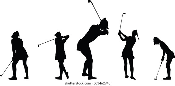 Vector silhouette of a woman golf player collection