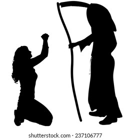 Vector silhouette of a woman with the Grim Reaper on a white background.