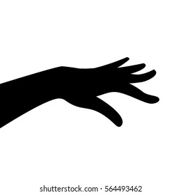 Vector silhouette of woman hand on white