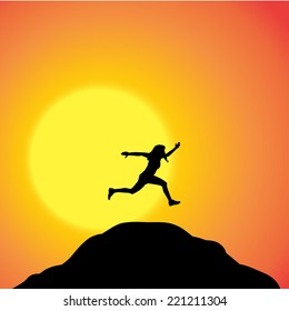 Vector silhouette of a woman in nature at sunset.