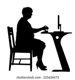 Vector silhouette of woman in office on a white background.