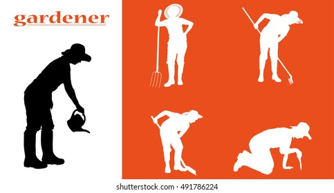 Vector silhouette of woman on garden on white background.