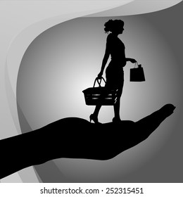 Vector silhouette of a woman on palm on white background.
