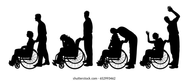 Vector silhouette of woman on wheelchair on white background.