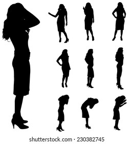 Vector silhouette of a woman on white background.
