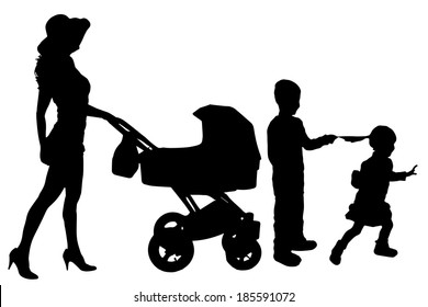 Vector silhouette of a woman with a pram on a white background.