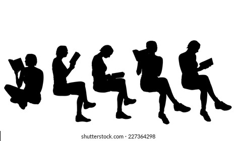 Vector silhouette of a woman reading book.
