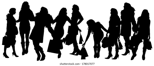 Vector silhouette of a woman with shopping bags on a white background.