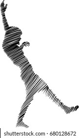 Vector silhouette of woman slipping and falling on white background