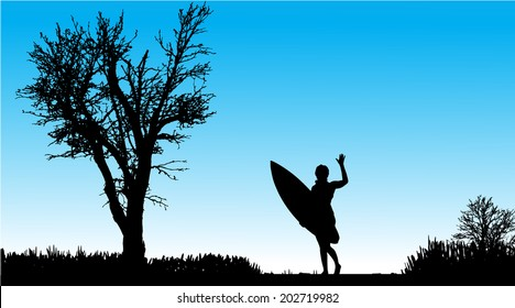 Vector silhouette of a woman with surfboard on a beautiful day.