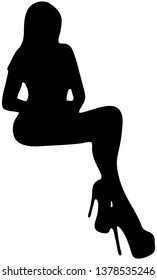 Vector Silhouette of a woman tying her stockings