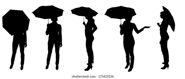 Vector silhouette of a woman with an umbrella on a white background.