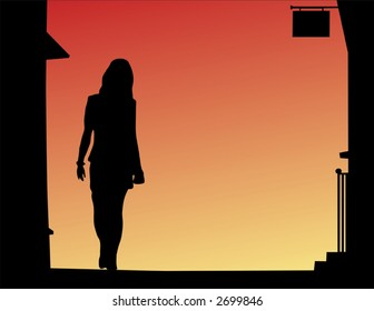 Vector silhouette of woman walking down a street