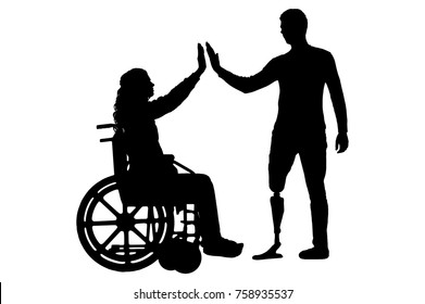Vector silhouette of a woman in a wheelchair and a man with a prosthetic leg standing to support each other. Conceptual scene, element for design