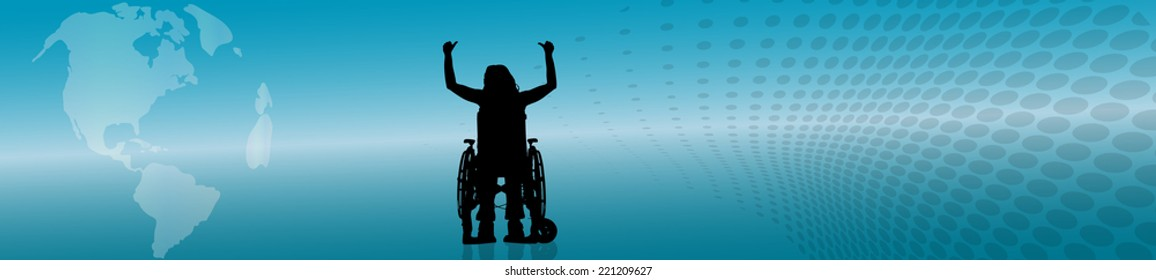 Vector silhouette of woman in wheelchair on the background of the globe.