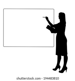 Vector silhouette of a woman white signs.