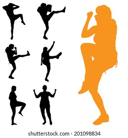 Vector silhouette of woman who boxing on white background.