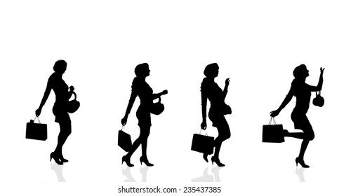 Vector silhouette of a woman who buys on a white background.
