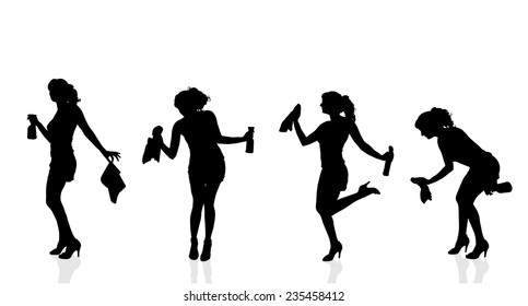 Vector silhouette of the woman who cleans on a white background